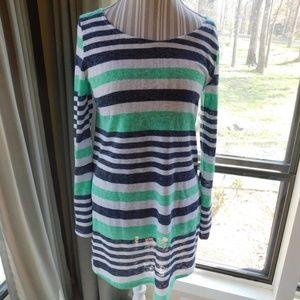 Thin knit striped tunic